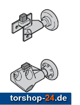 Hörmann Rollenhalter komplett mit Laufrolle und Puffer, links