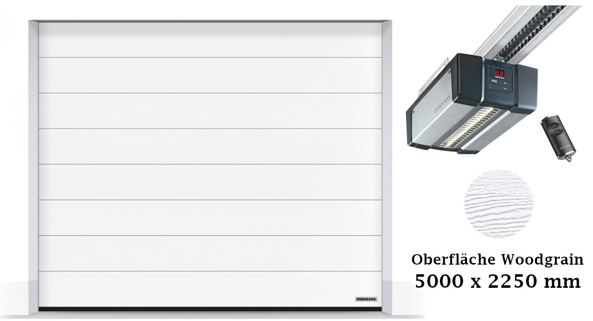 Hörmann Sektionaltor M-Sicke 5000 x 2250 mm weiß mit SupraMatic E