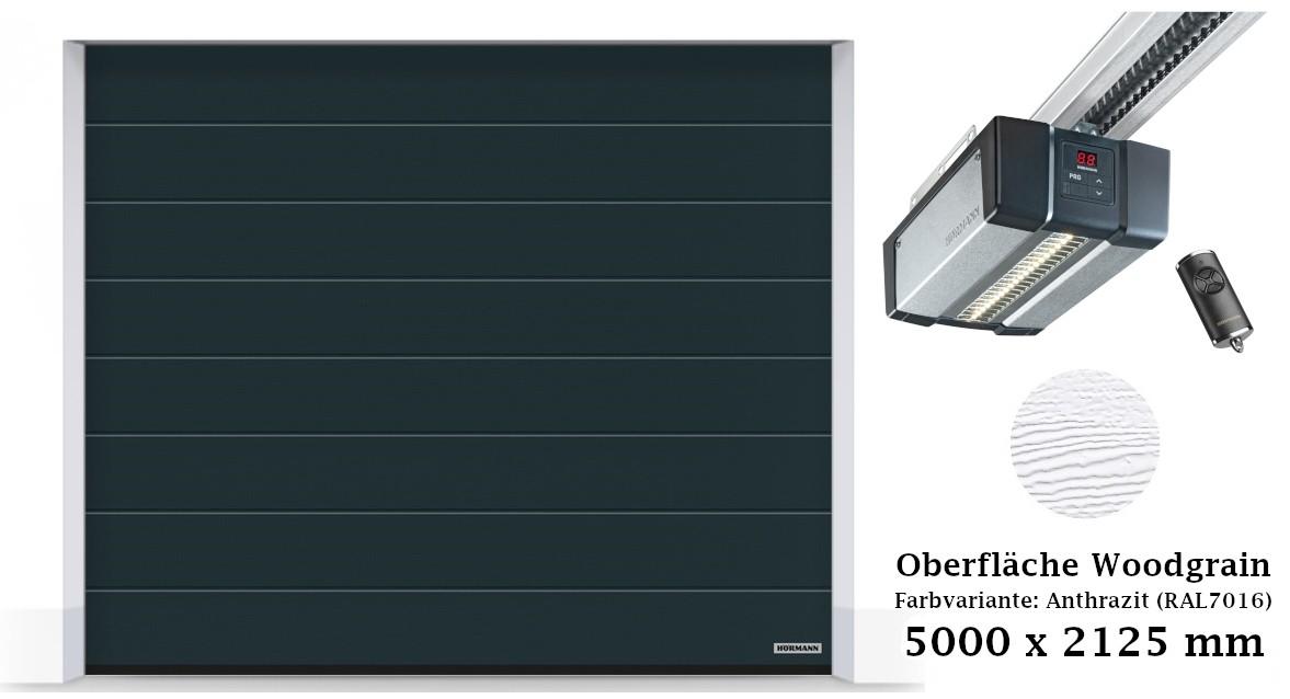 Hörmann Sektionaltor M-Sicke 5000 x 2125 mm anthrazit mit SupraMatic E