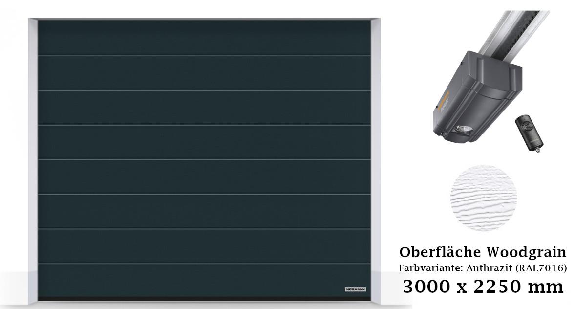 Hörmann Sektionaltor M-Sicke 3000 x 2250 mm anthrazit mit ProMatic